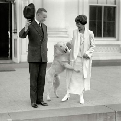 Calvin and Grace Coolidge with dog