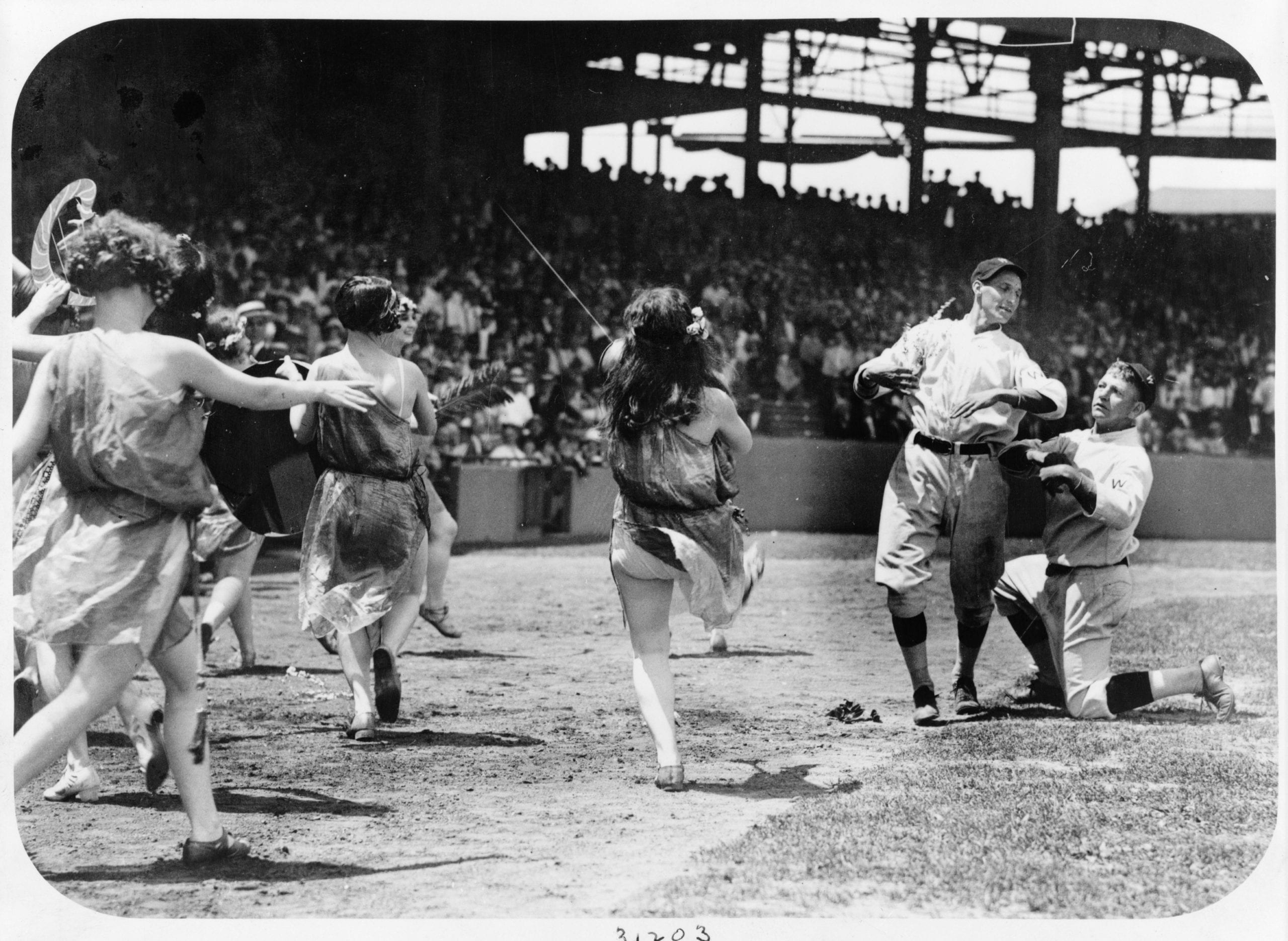 women dancing on the field at Nationals game - 1924 (vanishedamerica.com)