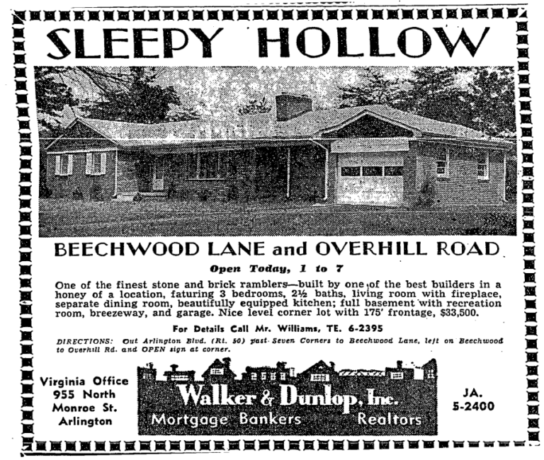 Sleepy Hollow, West Falls Church real estate advertisement