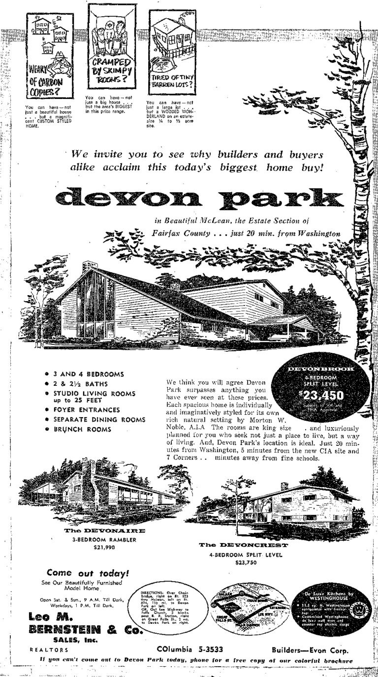 Devon Park real estate advertisement - 1957