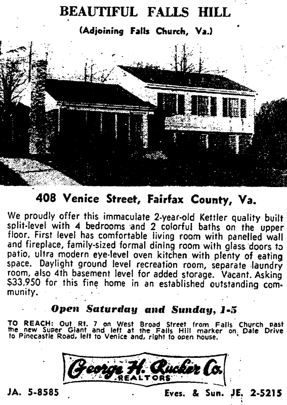408 Venice St., Falls Church real estate advertisement