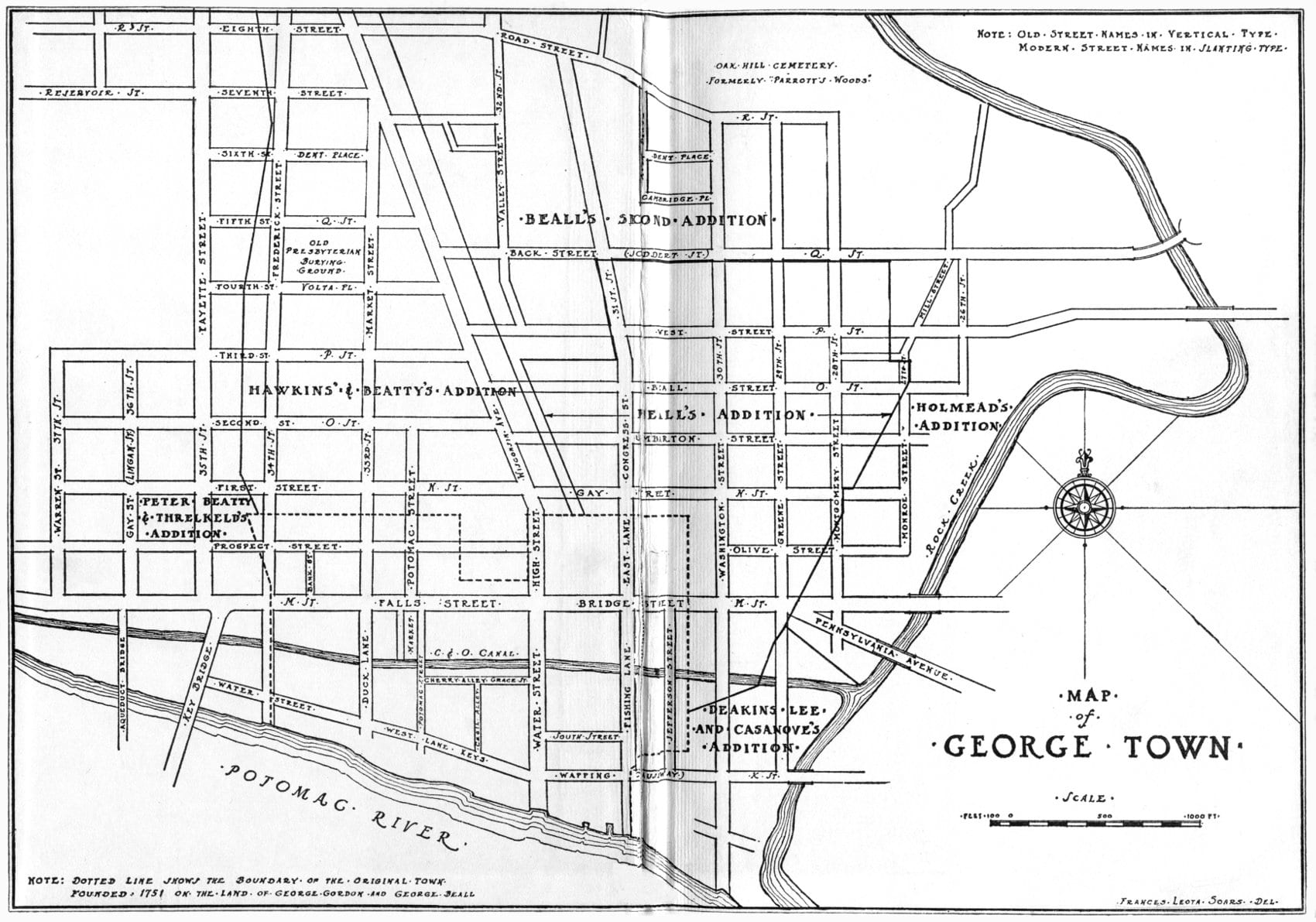 Georgetown street map with old names (gutenberg.org)