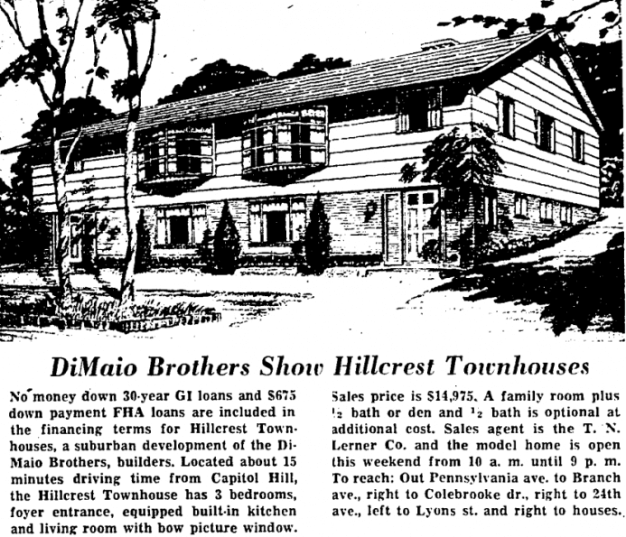 DiMaio Brothers Hillcrest real estate advertisement - July 25th, 1959