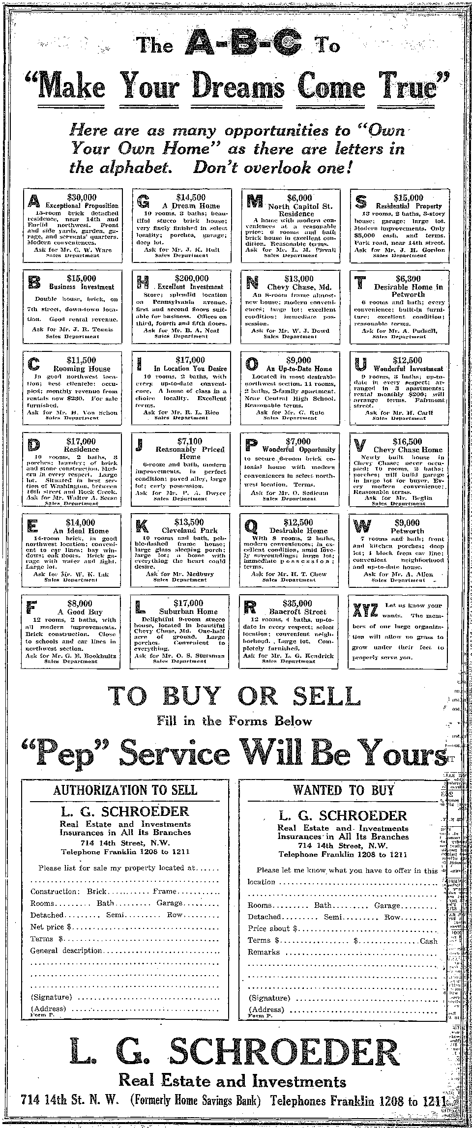 L.G. Schroder real estate advertisement - August 10th, 1919 (Washington Post)