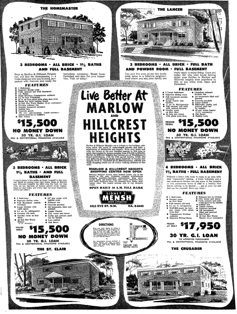 Marlow and Hillcrest Heights real estate advertisement - 1955