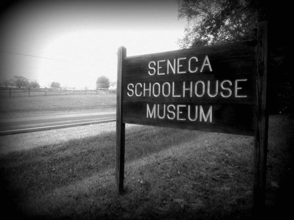 Seneca Schoolhouse Museum sign