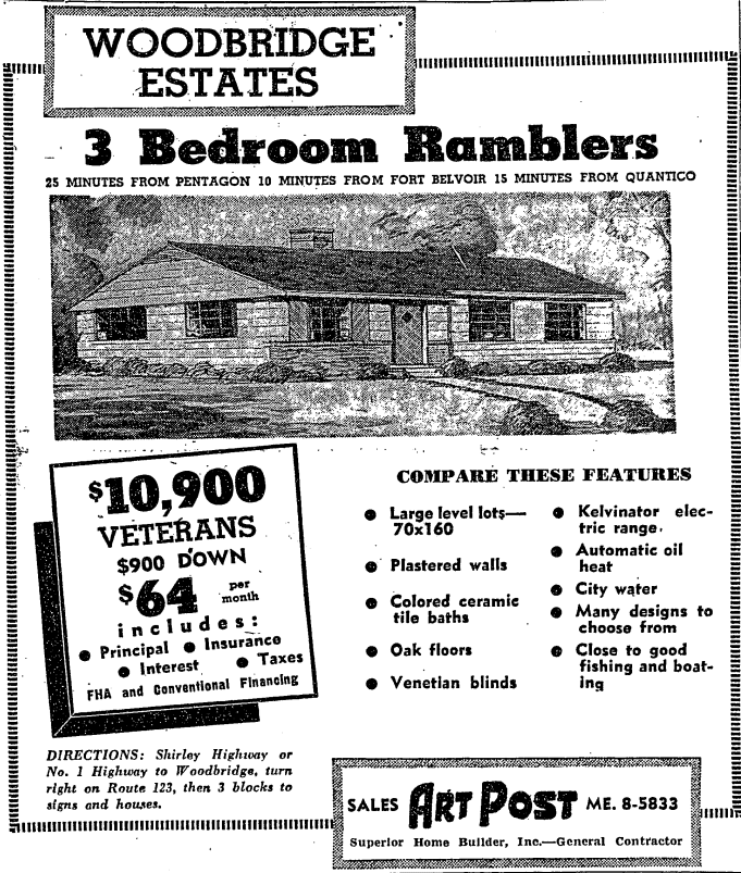 Woodbridge Estates real estate advertisement - December 7th, 1952