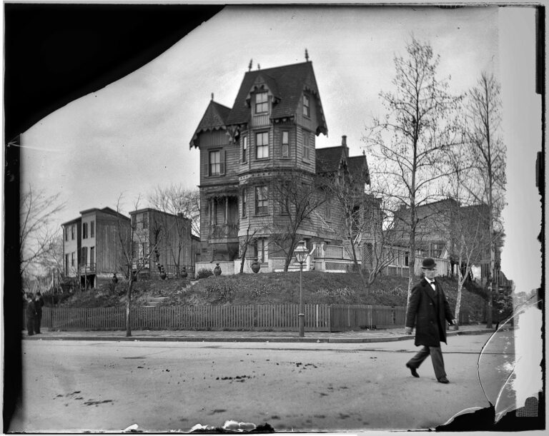 "Washington, D.C., circa 1918. ""Old house, Mass. Ave. N.E. Built by Thomas Taylor in 1876."""