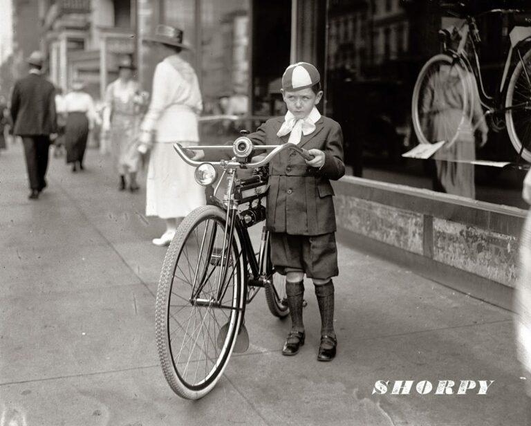 "Washington, D.C., 1921. ""Times boy and bicycle."" Winner of a Mead Ranger bike by virtue of selling 30 newspaper subscriptions. The Ranger contest was a promotion of various papers from about 1917 to 1923. National Photo Co. Collection."