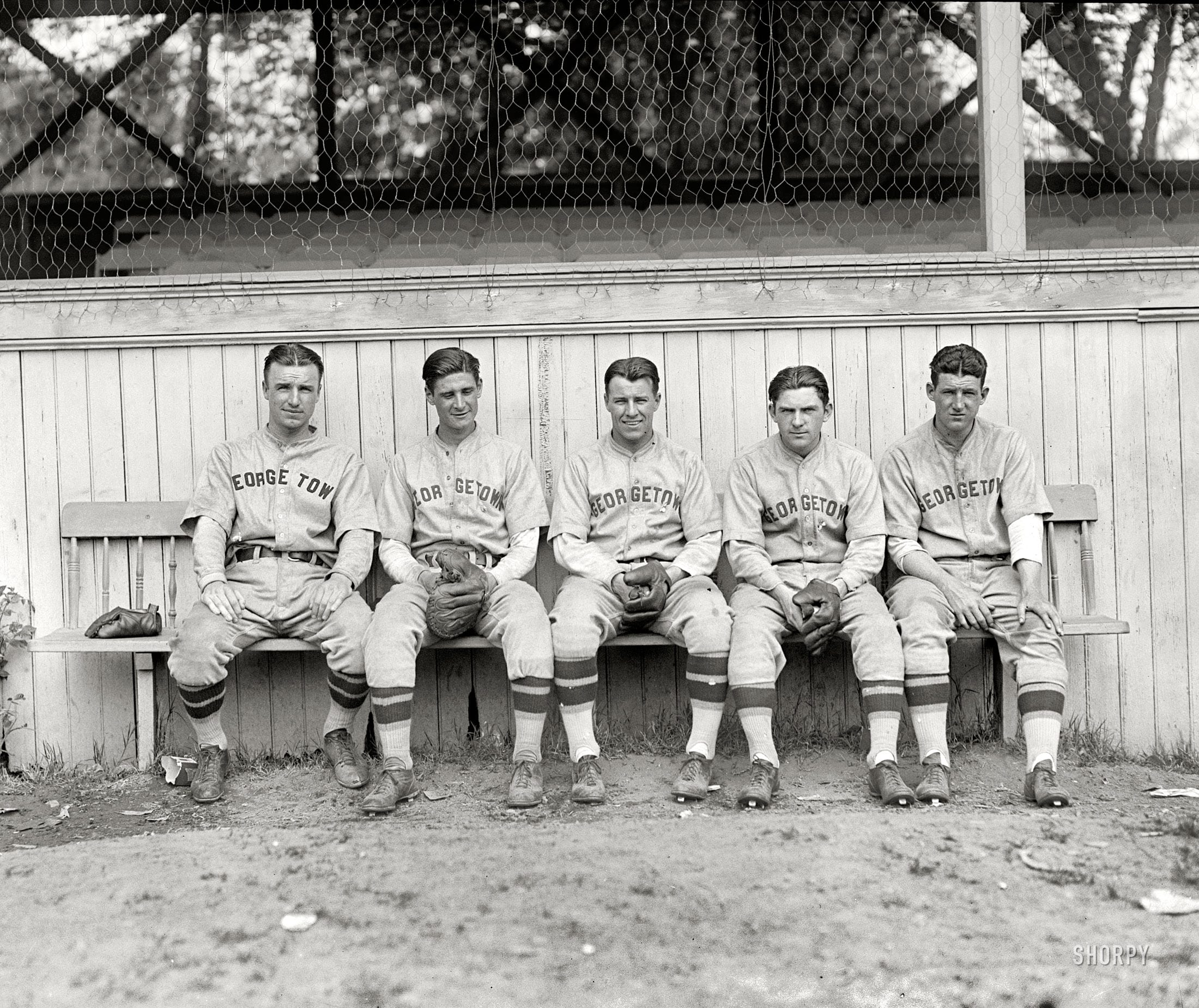 five Georgetown baseball players in 1928