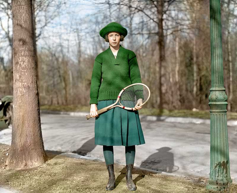 Great Colorized Photo of Girl Tennis Player (1921)