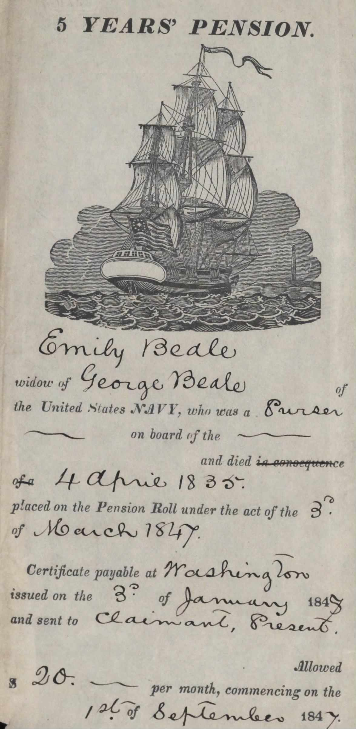 Emily Beale Pension Roll certificate (National Archives)