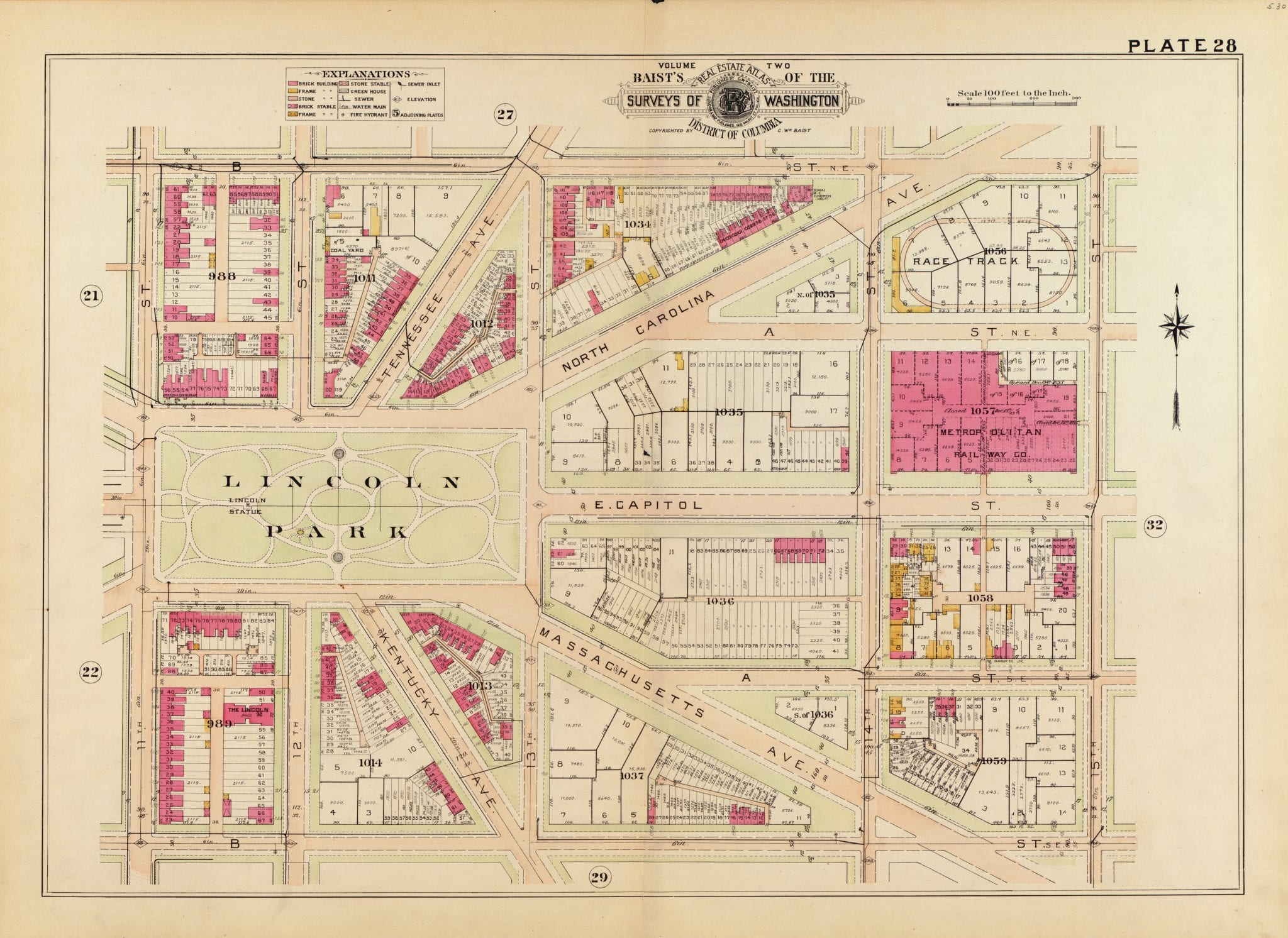 Detailed Map of Lincoln Park in 1903