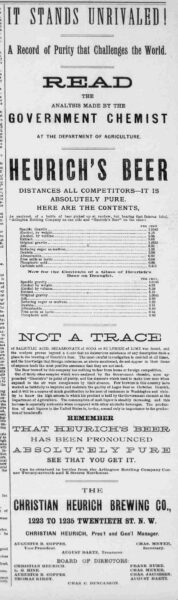 Ad for Heurich Brewery in 1891