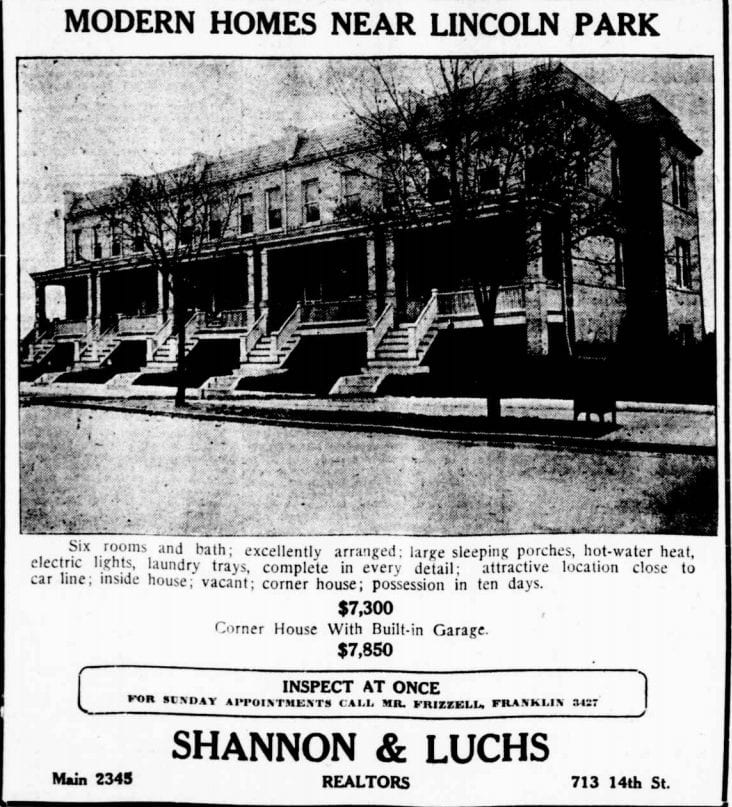 Lincoln Park real estate advertisement (Washington Times)