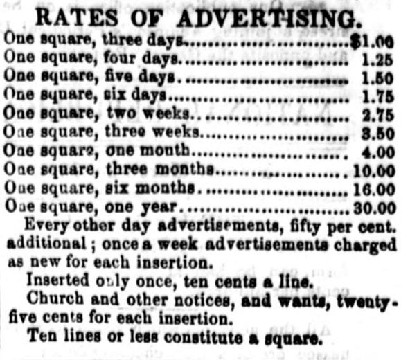 rates of advertising for The National Republican in 1860