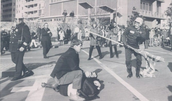 rioters and police at the Watergate in 1970