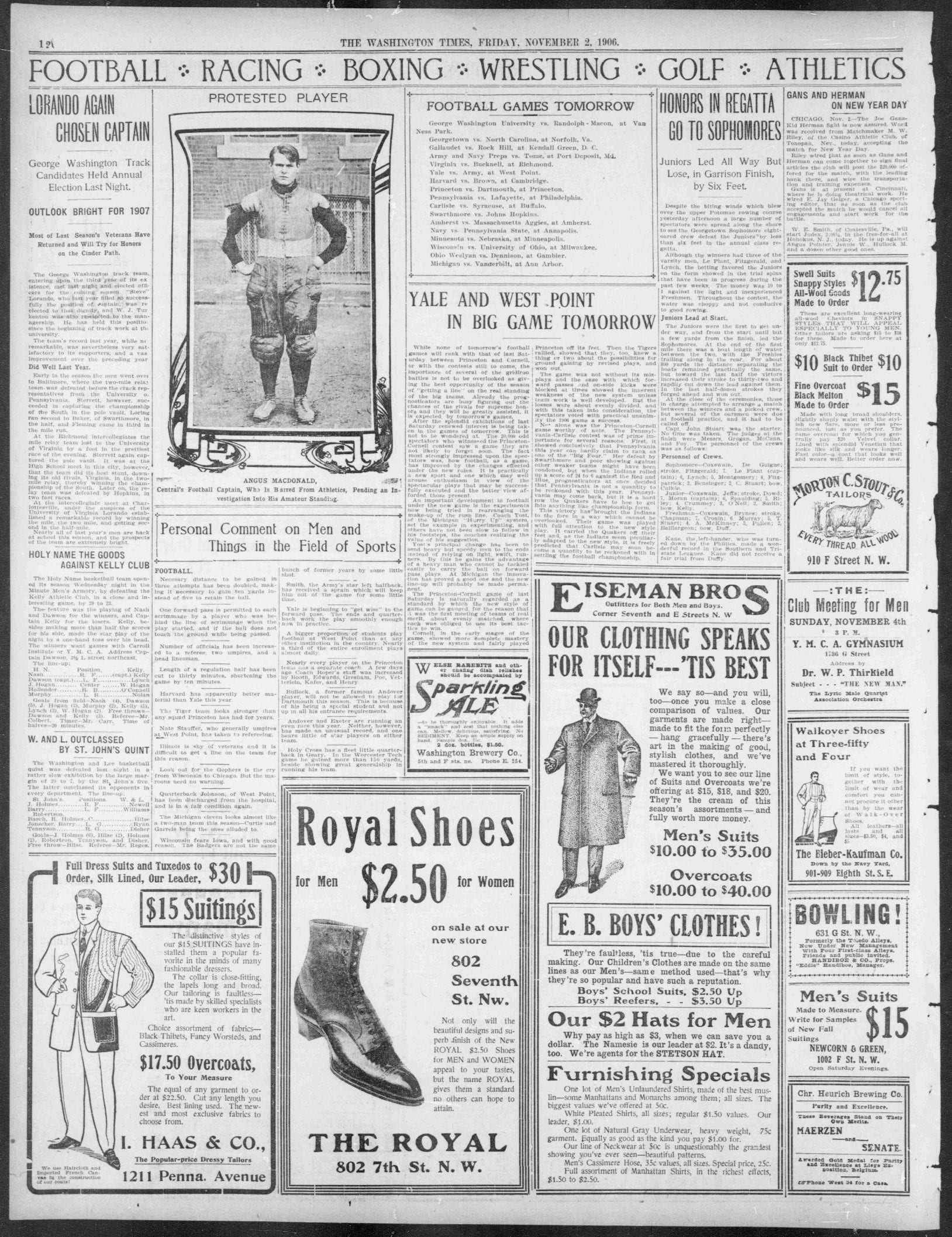 November 2nd, 1906: High School Football Player's Amateur Status Questioned