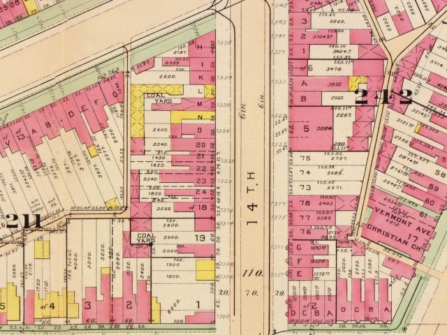 1300 block of 14th St. NW in 1903 (Baist real estate map)