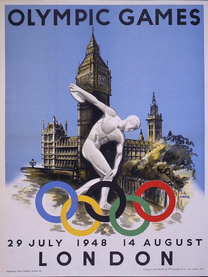 1948 London Olympics poster with Discobolus