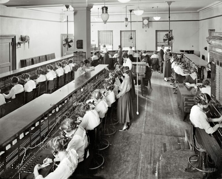 "Washington, D.C., circa 1919. ""Chesapeake & Potomac Telephone Co. switchboards."" Harris & Ewing Collection glass negative."