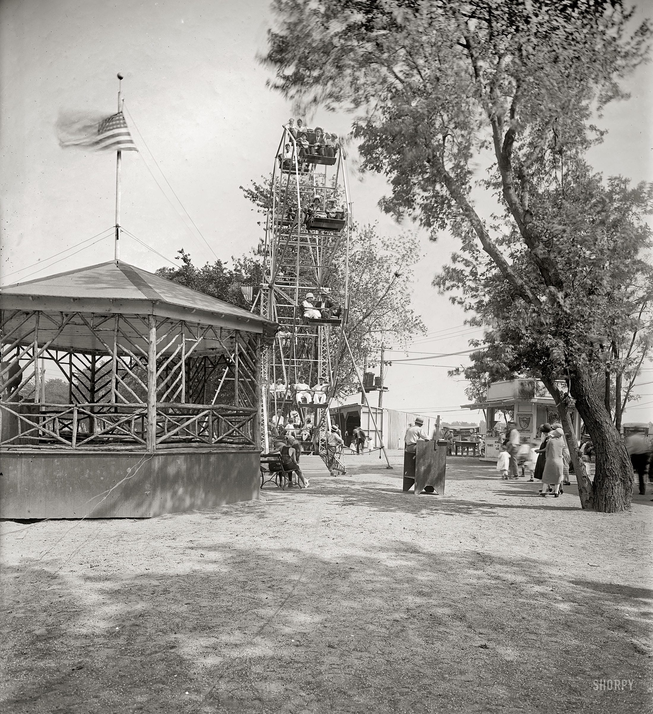 """Circa 1925. """"Arlington Beach."""" An amusement park in the general vicinity of today's Pentagon, removed in 1929 to make way for an airport expansion. National Photo Company Collection glass negative."""