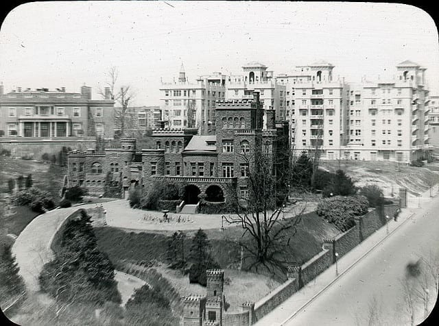 Built in 1888 for Senator John Brooks Henderson, the castle stood at the intersection of Florida Avenue and 16th Street, NW (northwest corner). Henderson was a skilled politician and was the man who drafted the Thirteenth Amendment to the Constitution. In 1949 the house was razed, with only the great stone entrance gate posts having survivied the wrecking ball. (DC Public Library Commons)