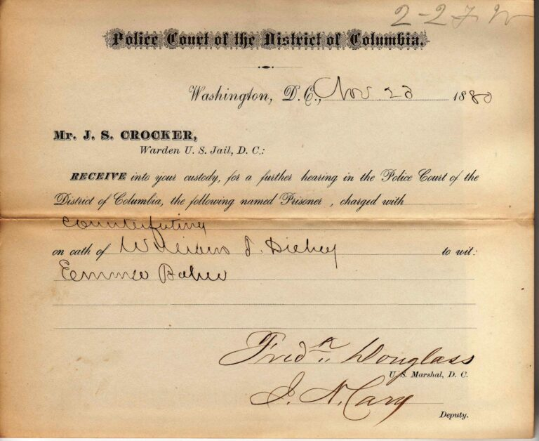 Jail transfer from the Police Court signed by Marshal Douglass, Nov. 28, 1880. Photo Workhouse Prison Museum at Lorton.