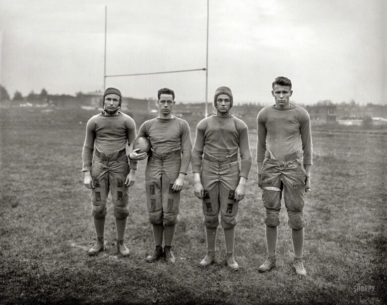 """Washington, D.C., 1920. """"Gripp, Mathew, [Nathan] Lahn, Troske -- Gallaudet U."""" Gridiron stars of the first college for the deaf, credited with inventing the football huddle in the 1920s as a way to keep its signed plays secret."""