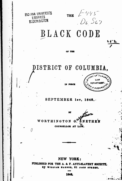 The Black Code of the District of Columbia in Force September 1st, 1848