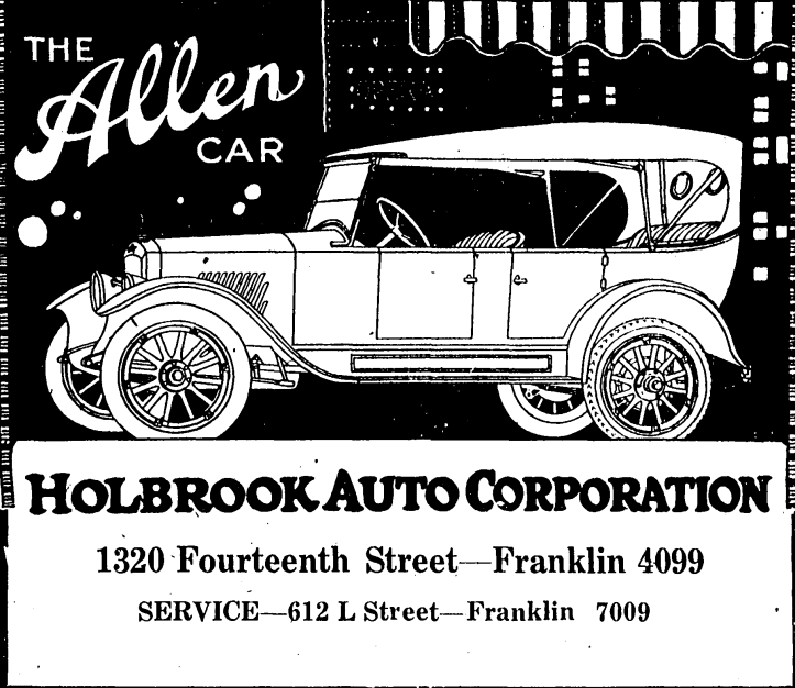 Holbrook Auto Corporation advertisement in 1920