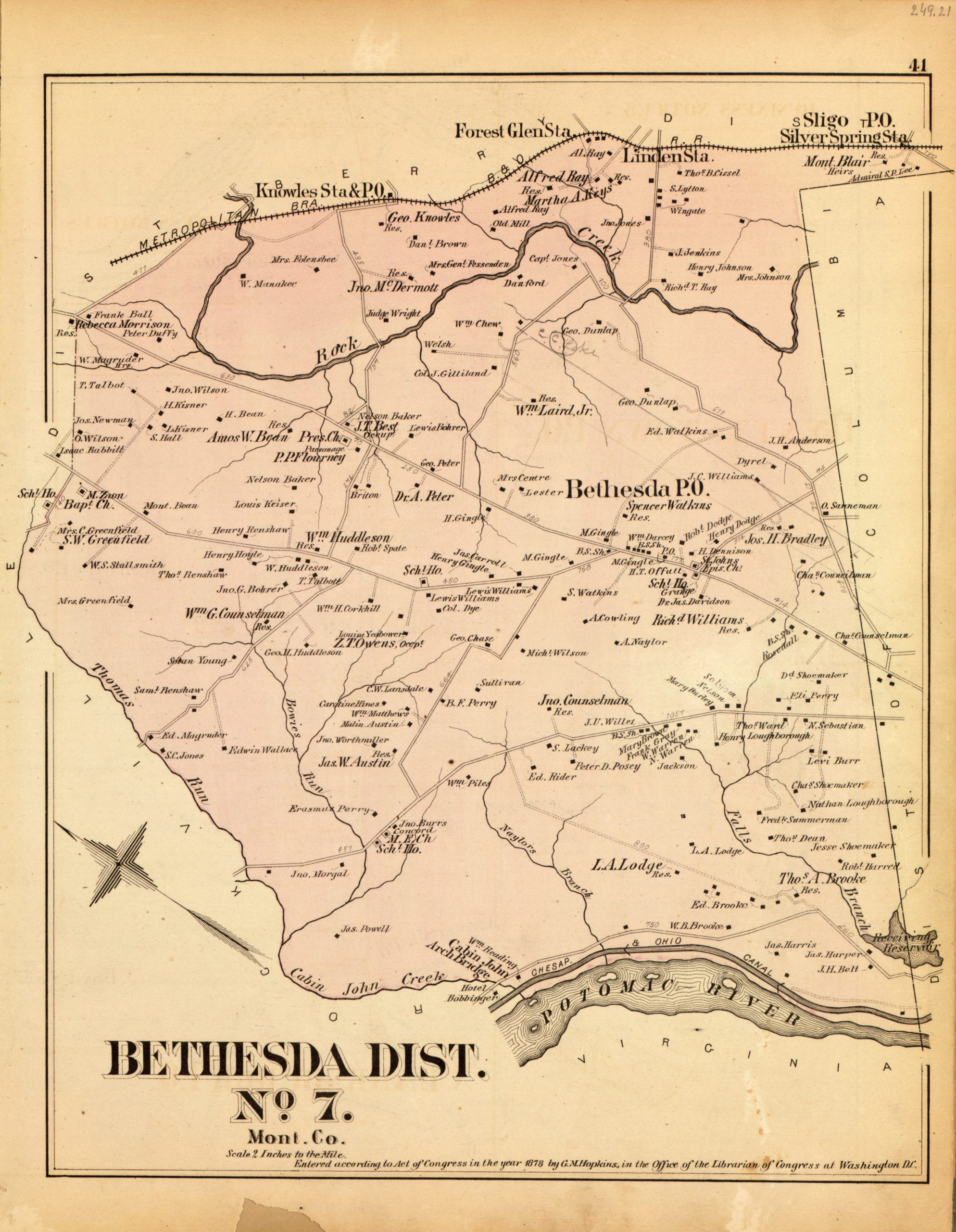 Map of Bethesda District in 1878