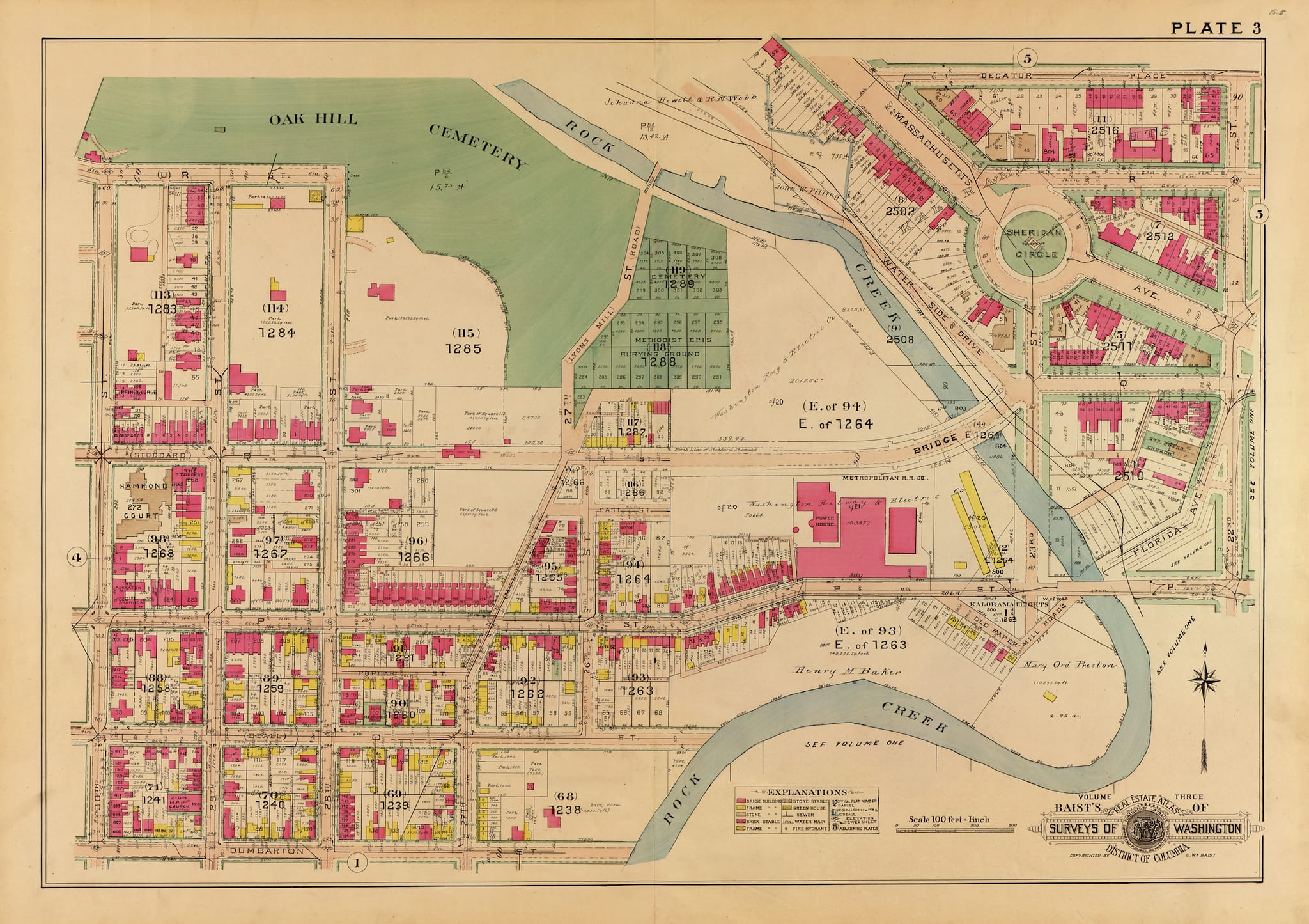 1915 map of Georgetown and Sheridan Circle