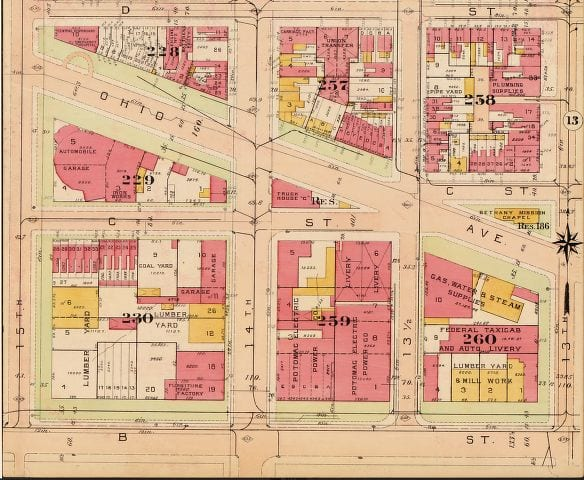 B St. between 15th and 14th St. in 1913 (Baist real estate atlas)