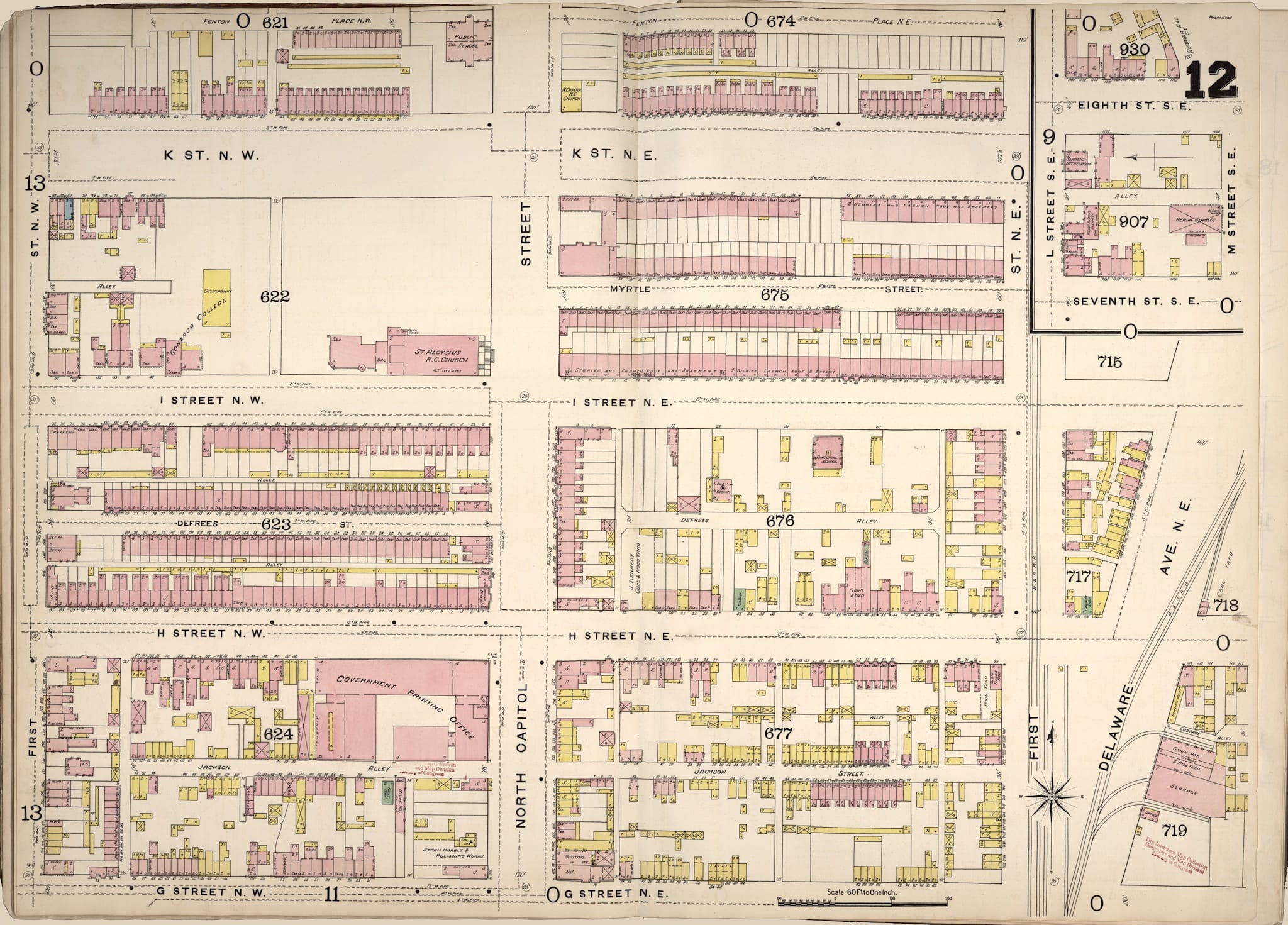 1888 Sanborn fire insurance map of Swampoodle
