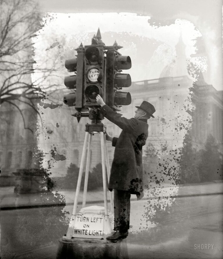 "January 5, 1926. Washington, D.C. ""Traffic Director Eldridge inspecting new lights."" National Photo Company Collection glass negative."