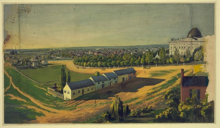 Drawing shows stables in the foreground and view of the city of Washington from southeast with the United States Capitol on the right, the White House in center background, and the Smithsonian castle and Washington Monument on the left.