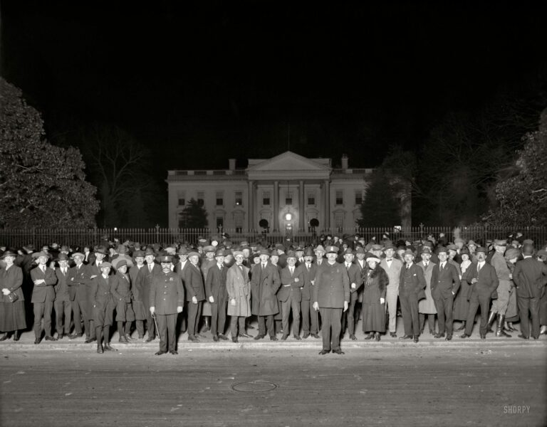 """Election night crowd at White House, November 1920."" The chosen one was Warren Harding. National Photo Company glass negative."