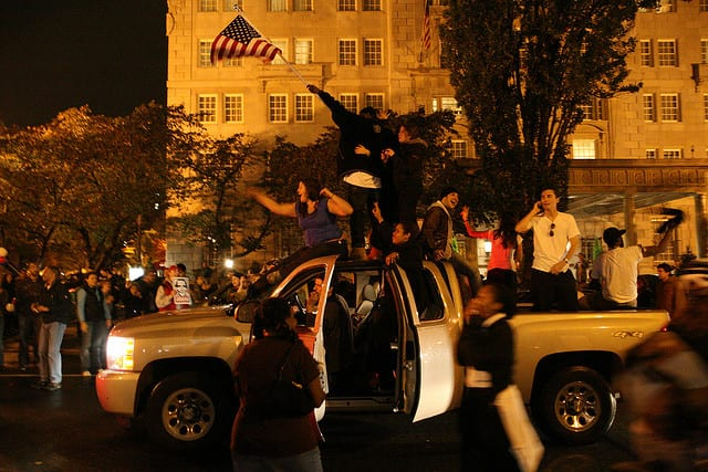 16th St. near Hay Adams on Election Night 2008 (Flickr user: Alex Barth) - BTW: The Ghost of DC is in this photo