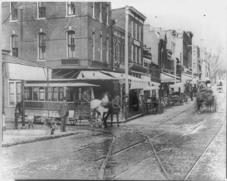 Horse car in Washington, D.C. at Wisconsin and O St. NW (1889)