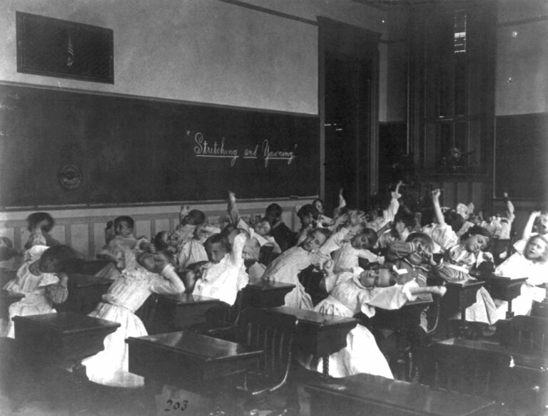 stretching and yawning in the classroom circa 1899