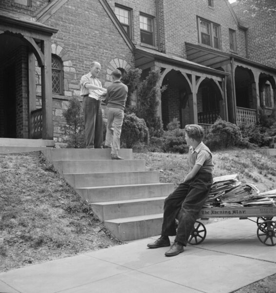 Washington, D.C. Salvage drive, Victory Program. Schoolboy volunteers to go from house to home collecting scrap paper