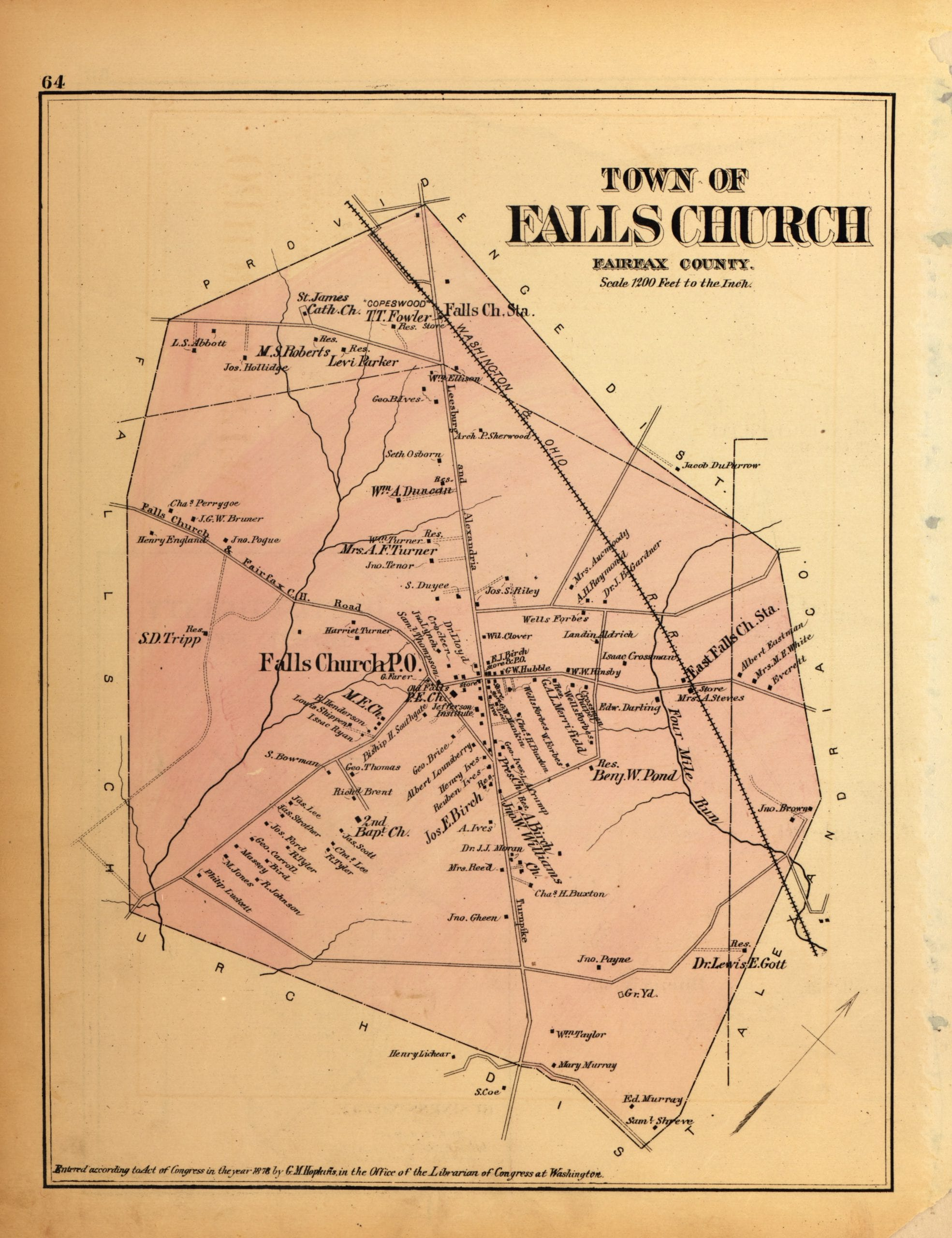 Map of area surrounding Falls Church in 1879
