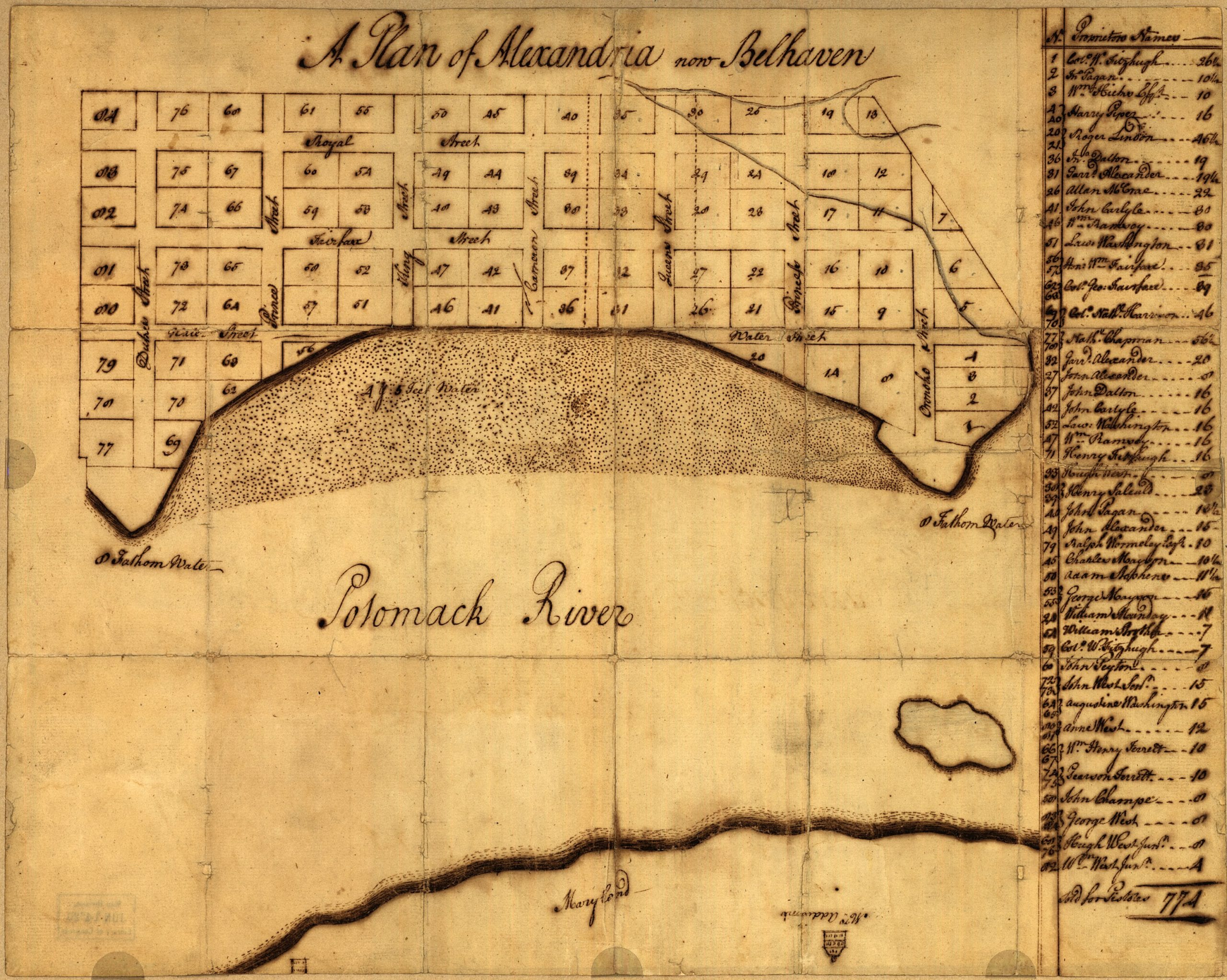 George Washington's Map of Alexandria in 1749