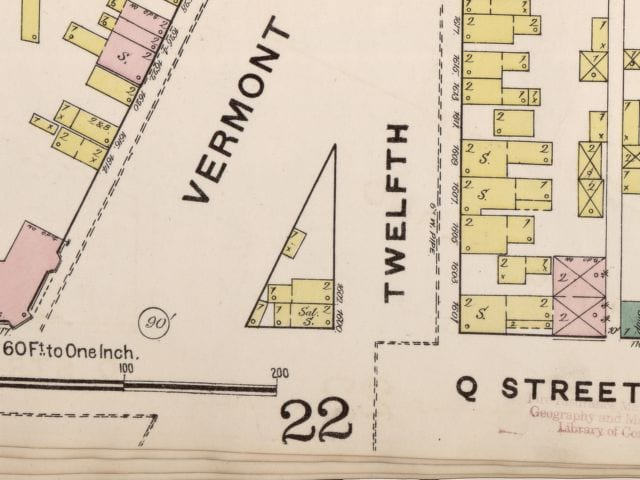 Sanborn fire map of 12th, Vermont and Q St. in 1888