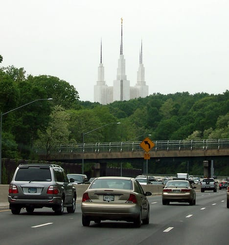 the temple viewed from the Beltway (Flickr user: MShades)