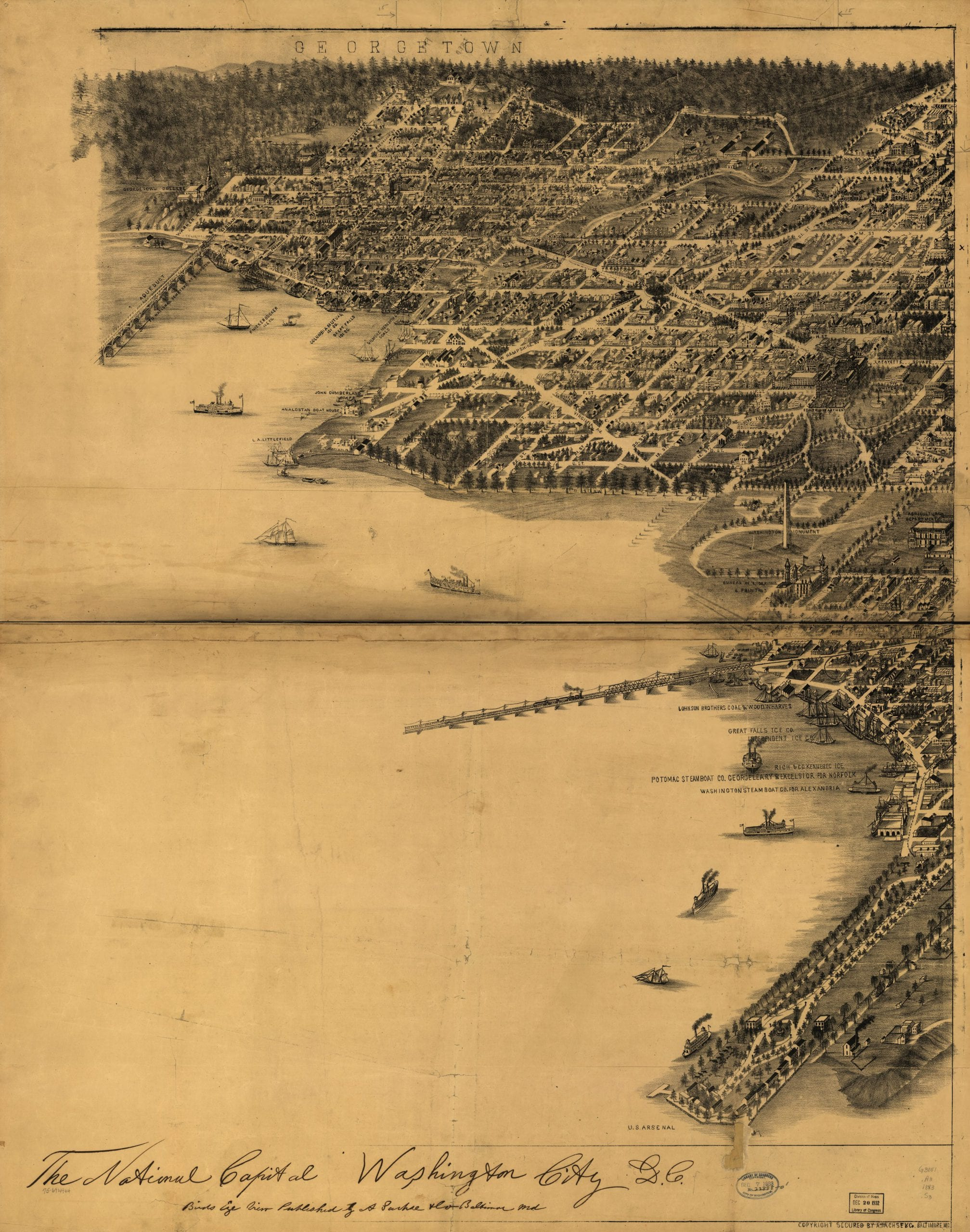 1883 bird's eye view of Washington