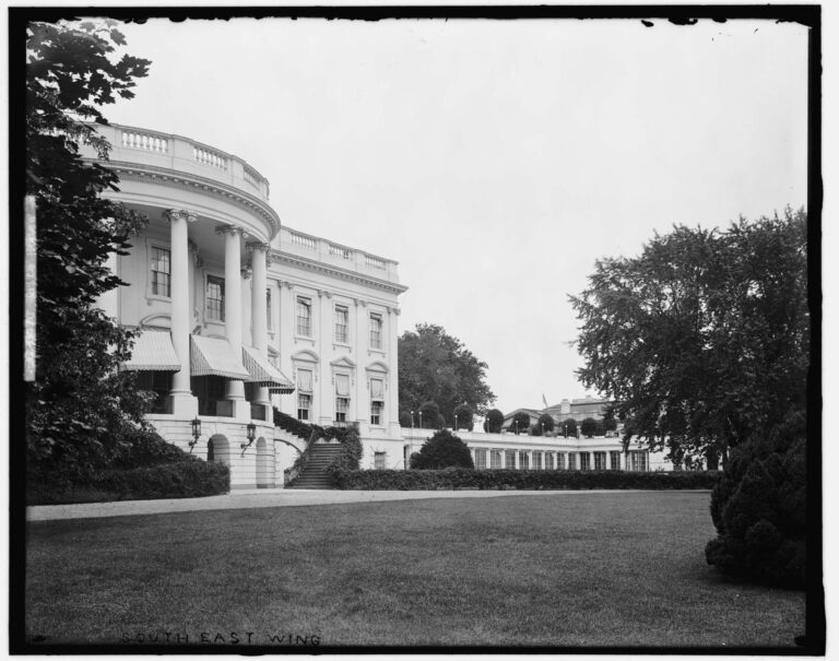The White House East Wing as viewed from the south