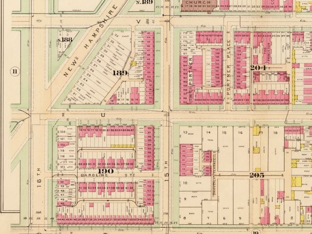 16th and U St. in 1903 (Baist real estate atlas)