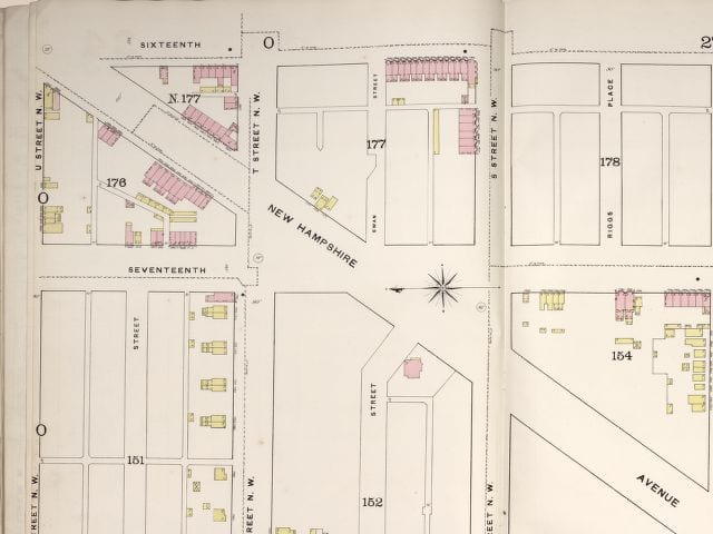 Sanborn fire map in 1888 - west side of 16th and U St. (looking east)